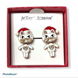 Betsey Johnson Holiday Cat Earrings